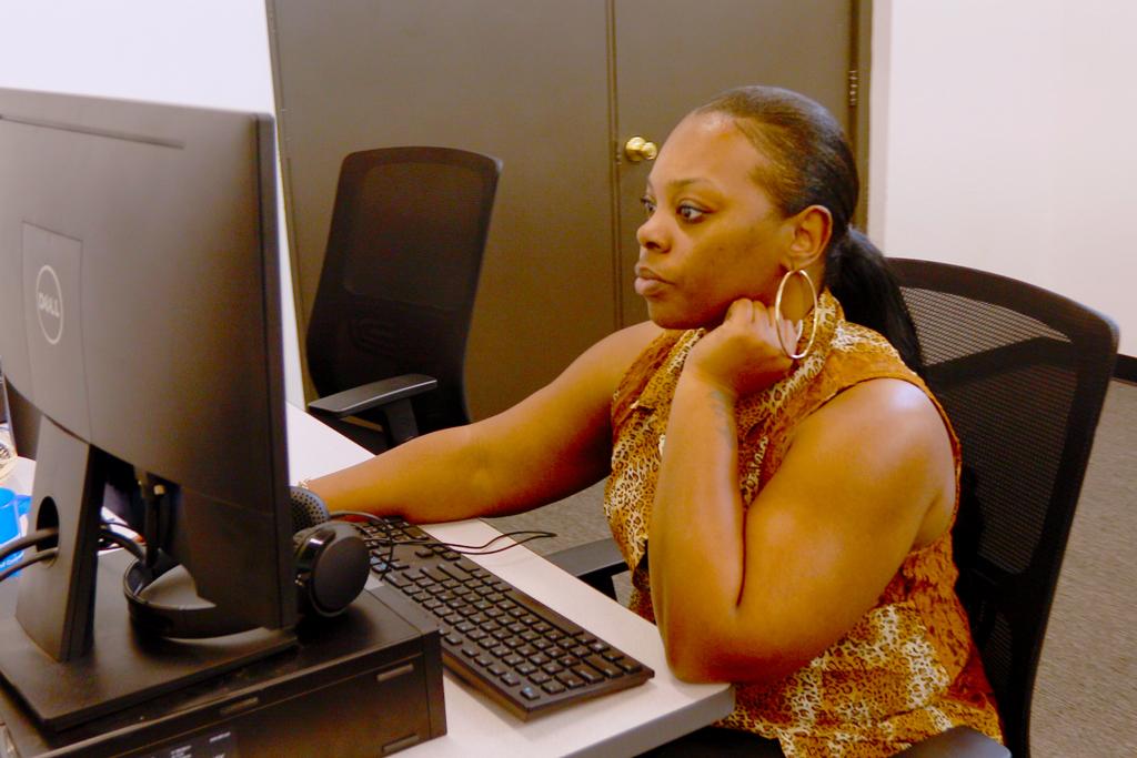 Woman training on computer